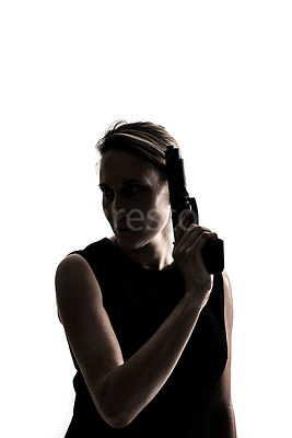 A silhouette of a mystery woman holding a gun – shot from eye level.