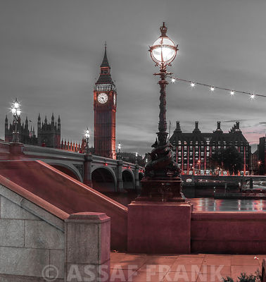 Westminster bridge and Big Ben from Thames promenade, London, UK