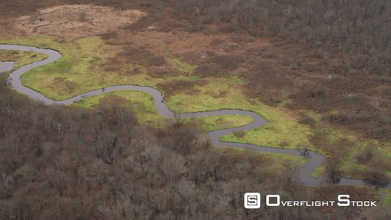 Over Meandering River Near Plainville, Connecticut. Shot in November