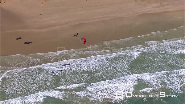 Aerial of a kite surfer entering the sea. Eastern Cape South Africa