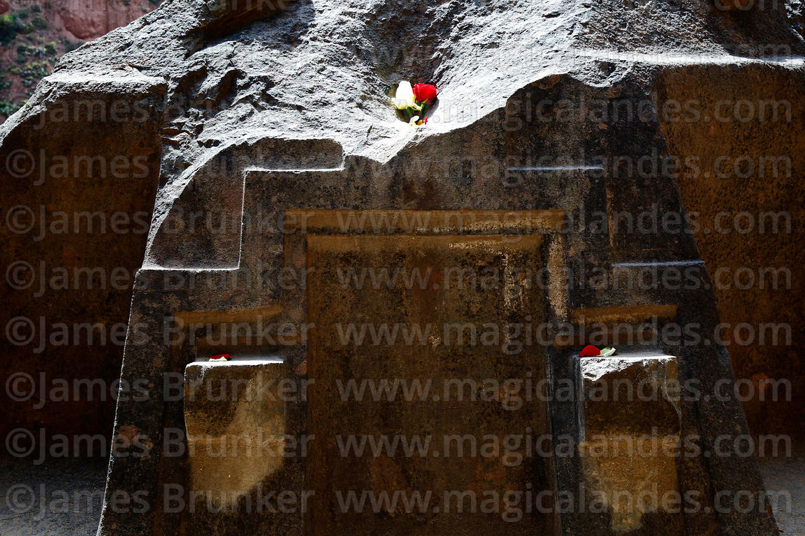 Detail of chakana / Andean cross carved into bluestone altar in cave at Ñaupa Iglesia shrine / huaca, Huaracondo Valley, Cusc...