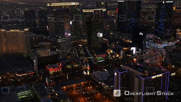 Las Vegas, Nevada, USA  Aerial Footage of Las Vegas Strip at Night