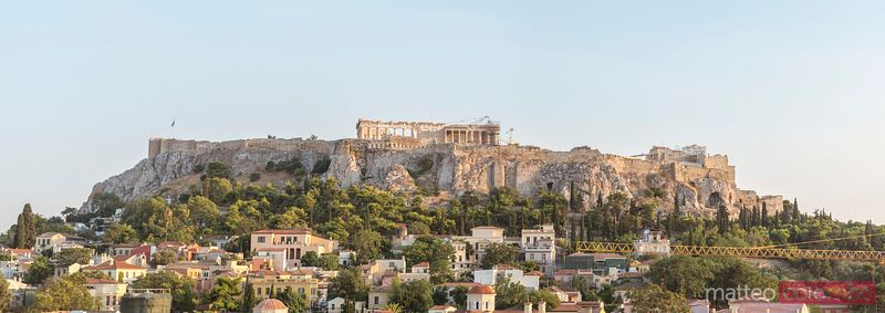 Panoramic view of the Acropolis at sunset. Athens, Greece