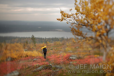 Hiker in autumn foliage