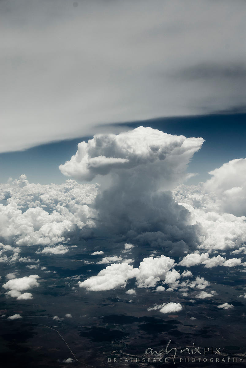 Aerial view of cumulo nimbus clouds