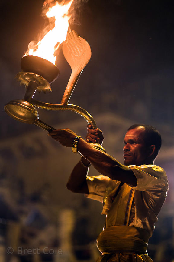 Pujari perfrom Ganga Aarti along the Ganges River, Dashashwamedh Ghat, Varanasi, India