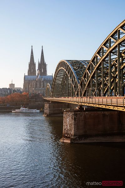 Cologne cathedral and bridge at daytime, Germany