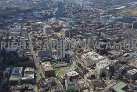 Manchester view with Piccadilly Gardens in the foreground with One St Peters Square in the background