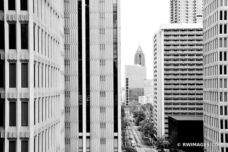 DOWNTOWN ATLANTA GEORGIA ARCHITECTURE BLACK AND WHITE VERTICAL