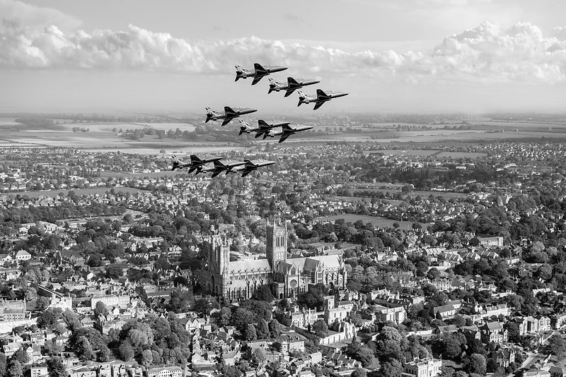 Red Arrows over Lincoln black and white version