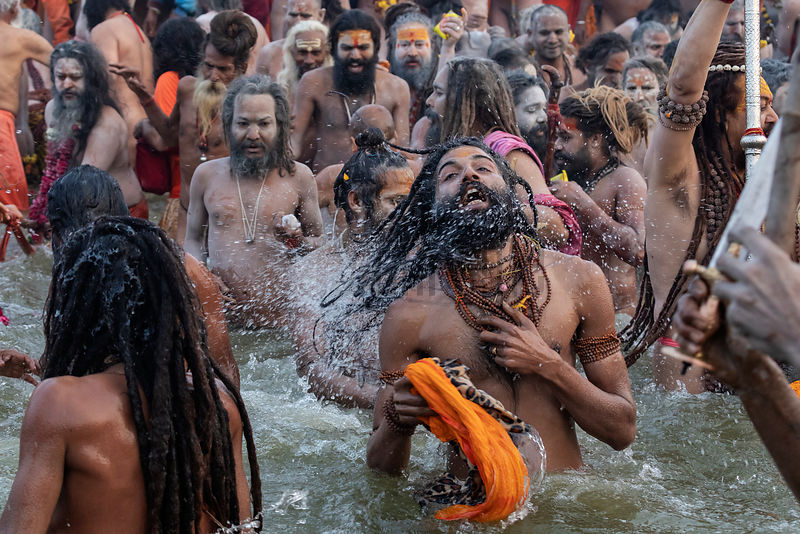 Naga Sadhus from the Juna Akhara at the Royal Bath Mauni Amavasya at the 2019 Kumbh Mela