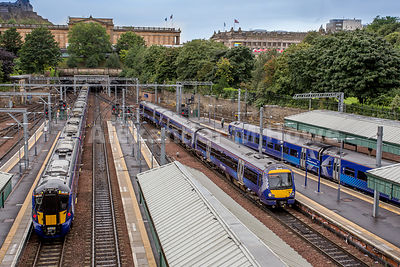 Waverley Station platforms and trains from above