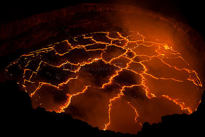 Lava lake boiling within Halemaumau Crater, Kilauea Volcano, Hawaii Volcanoes National Park, Hawaii, USA.