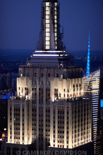 Aerial photograph of the Empire State Building at night
