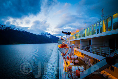 Cruise Ship at Midnight on a Norwegian Fjord