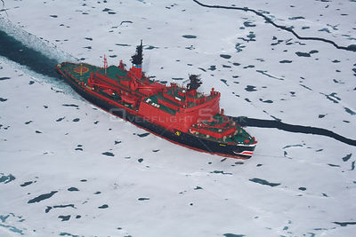"Aerial view of the Russian nuclear icebreaker ""Yamal"" travelling through ice on its way to the North Pole, July 2007"
