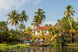 Modern house in Kerala backwaters.