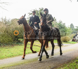 Angus Smales, Bruce McKim leaving the meet. The Cottesmore Hunt at Little Dalby Hall 5/2