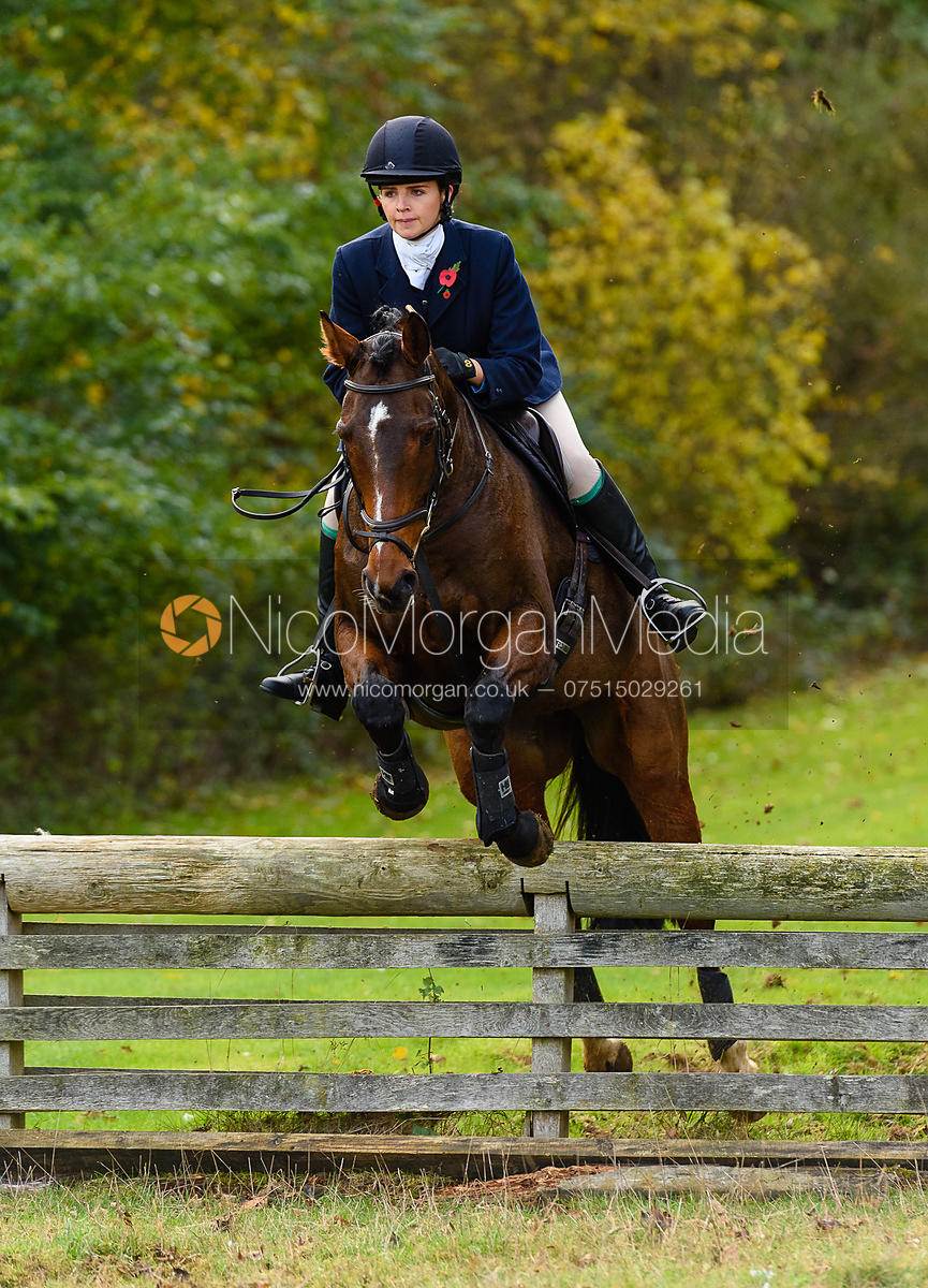 Georgie Fenn jumping a hunt jump near Milton Hall.