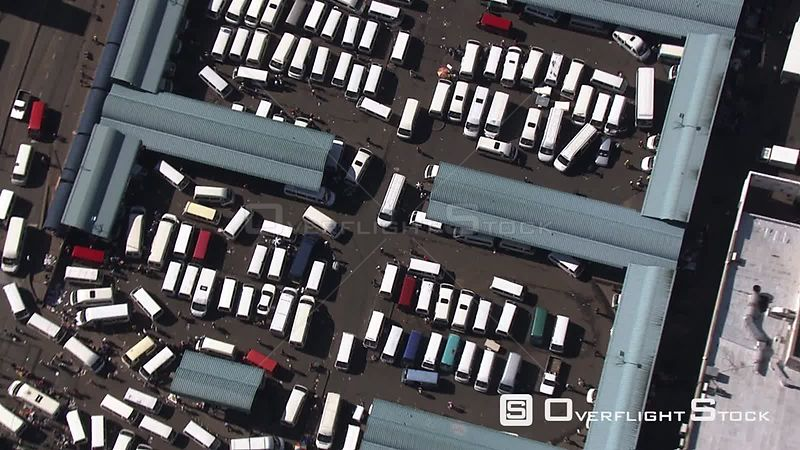 Aerial shot of a taxi rank in the city of Johannesburg Johannesburg Gauteng South Africa