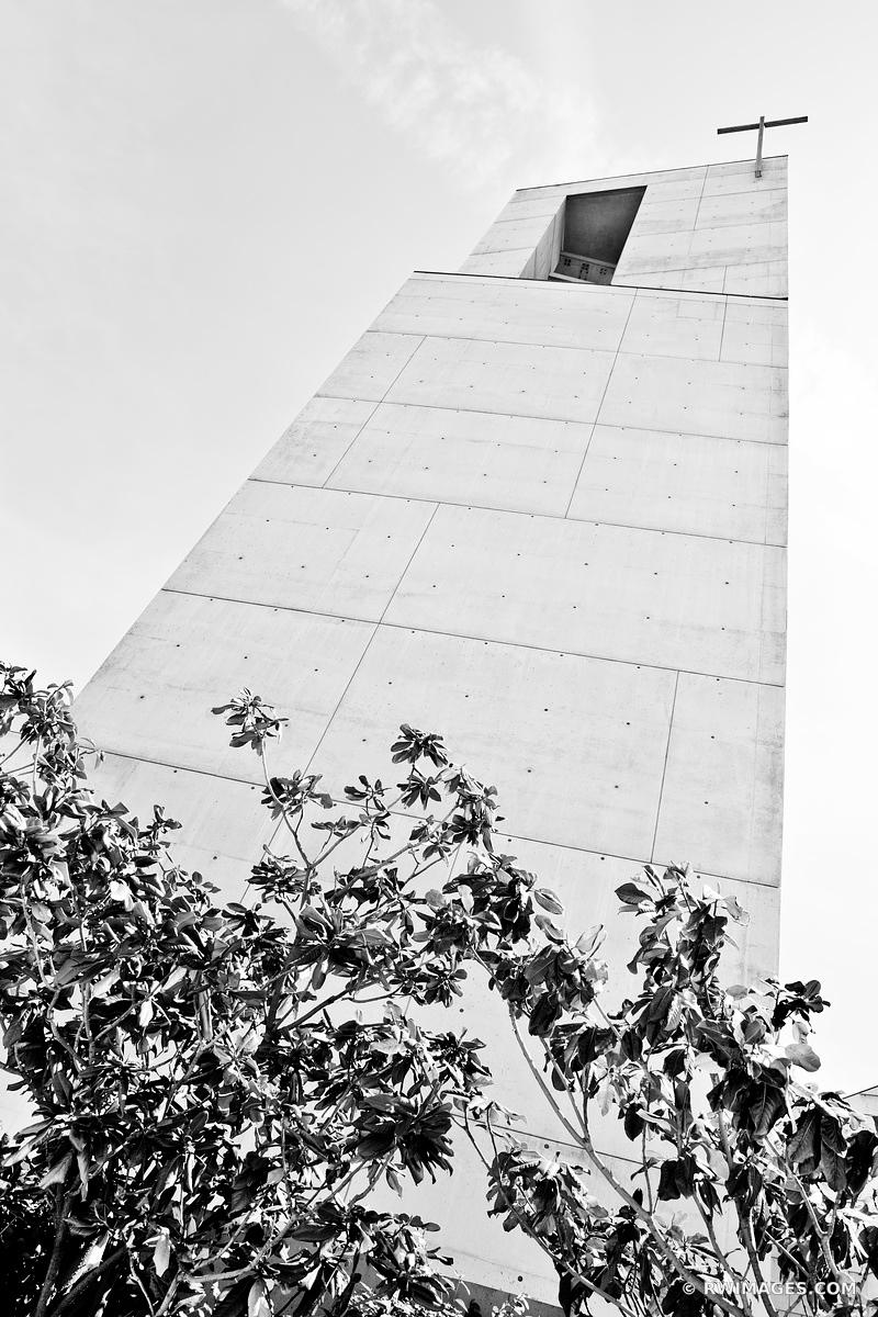 CATHEDRAL OF OUR LADY OF THE ANGELS CHURCH LOS ANGELES CALIFORNIA BLACK AND WHITE VERTICAL