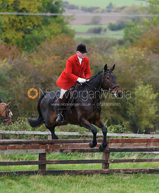Andrew Farrin jumping a hunt jump at Thorpe Satchville - Quorn Hunt Opening Meet 2016
