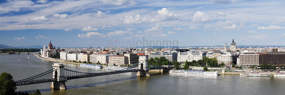 Skyline of Budapest with the Chain Bridge and the River Danube in the Foreground