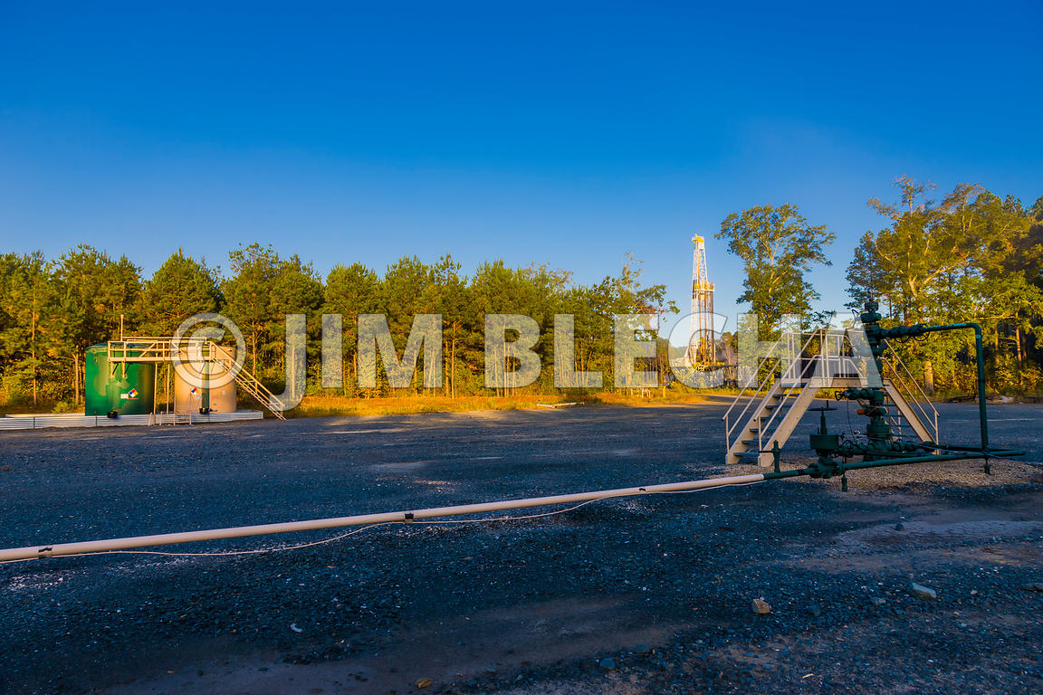 Oil and Gas Stock Photography | Drill Rig and Producing Gas Well