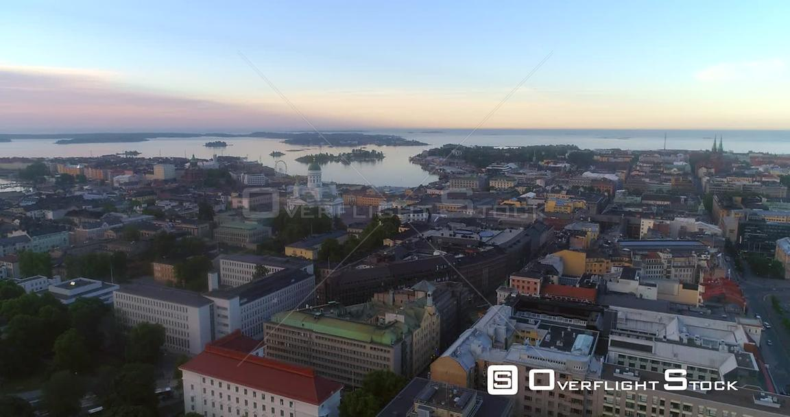 Sunrise in a City, Aerial View Towards Helsinki South Harbour and the Cathedral, on a Sunny Summer Morning Dawn, in Helsingfo...