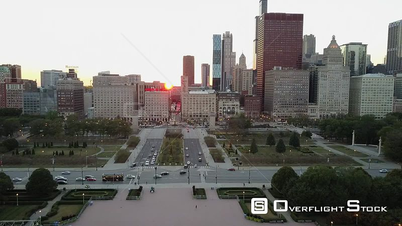 Congress Parkway Drone Video Downtown Chicago Illinois USA