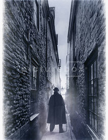 An old photograph of a Victorian man in a cloak and hat, standing in a foggy alley.