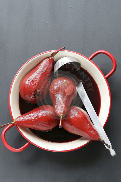 Poached pear in red wine