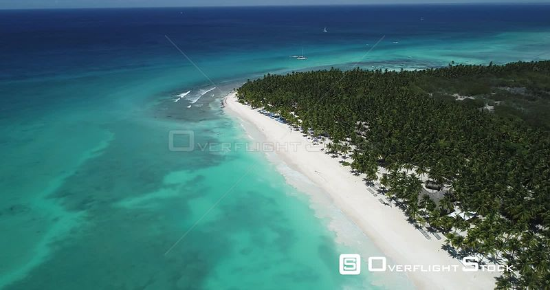 Caribbean beach and palm trees. High altitude flight howering and backward . Saona Island, Dominican Republic