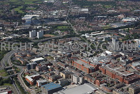 Oldham aerial photograph of Oldham town centre showing the Oldham Way