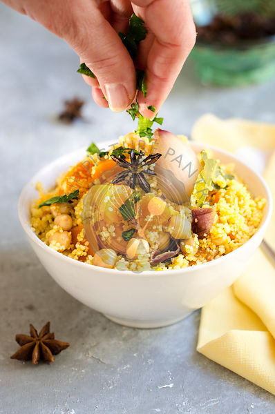 Saffron couscous with fall vegetables