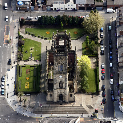 aerial photograph of  the remains of St Lukes Church  Liverpool