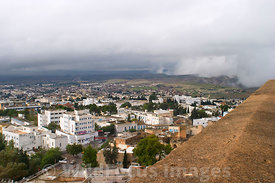 A spot of rain approaching as seen from the battlements of the Kasbah, Le Kef, Tunisia; Landscape