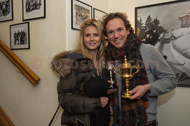 "Heidi Klum congratulates Magnus Eger after winning the ""Heaton Gold Cup"" at the Cresta Run in St.Moritz"