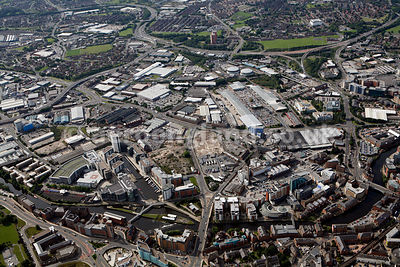 aerial photograph of  Brewery Wharf  and vicinity in Leeds Yorkshire England UK