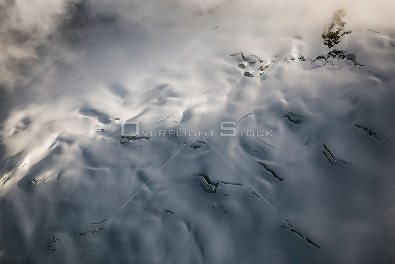 Crevasses on a  Fog Shrouded Glacier Landscape Coast Mountains BC