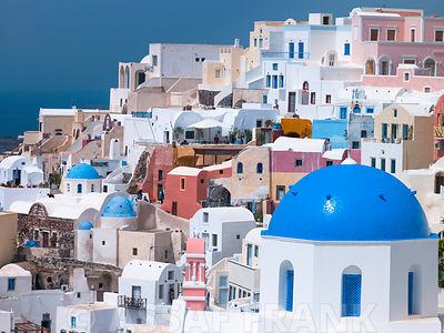 Greece, Cyclades. Santorini Island. View of Oia