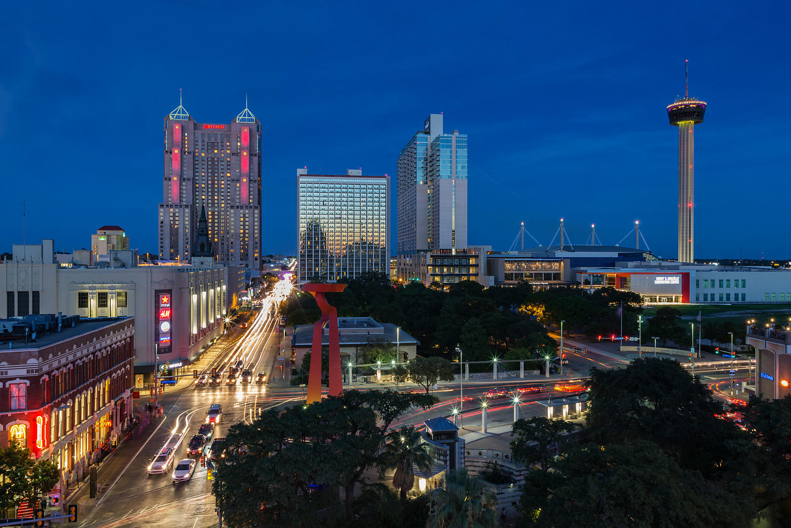 Elevated View of the San Antonio Skyline at Dusk
