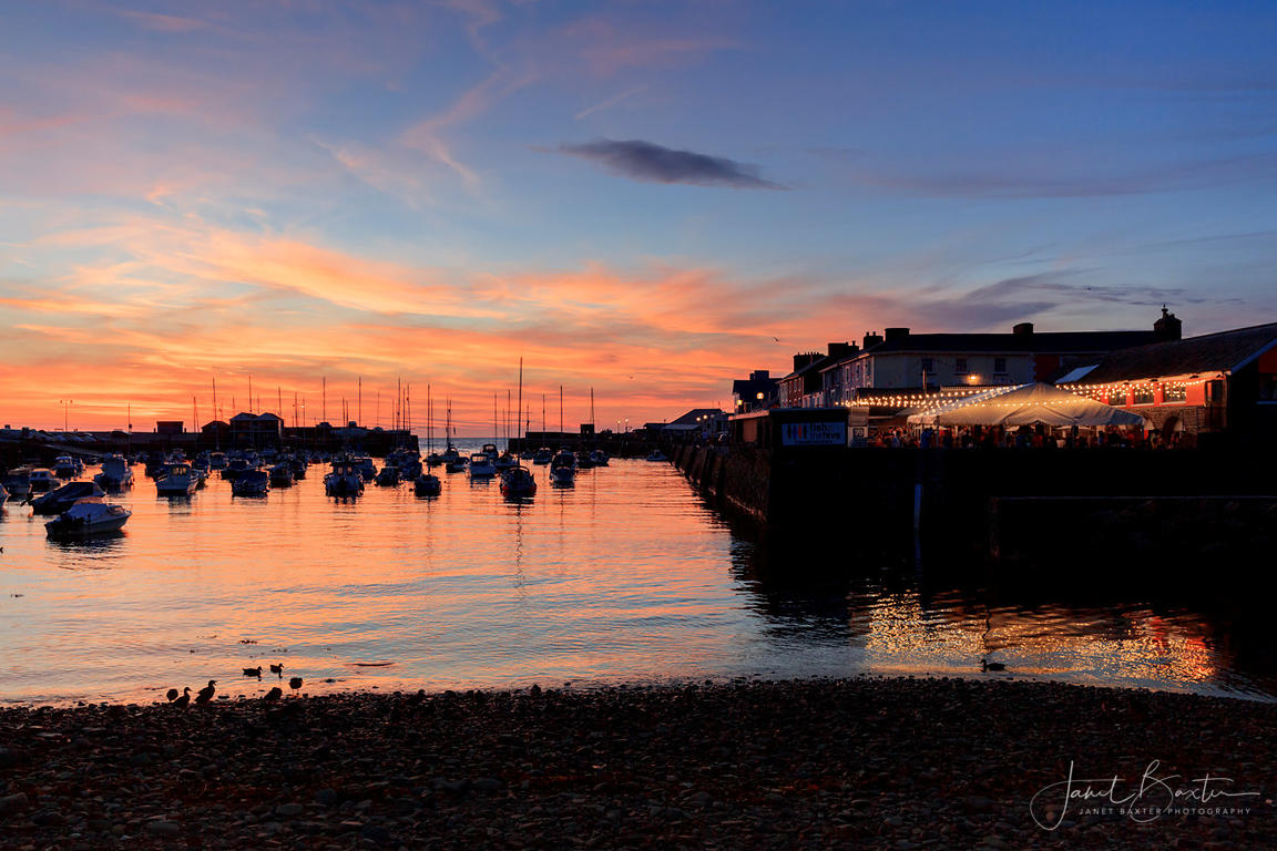 Aberaeron harbour & The Hive, sunset