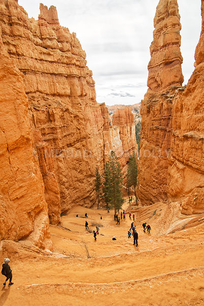 Hikers Entering Bryce Canyon- Near Tropic, Utah
