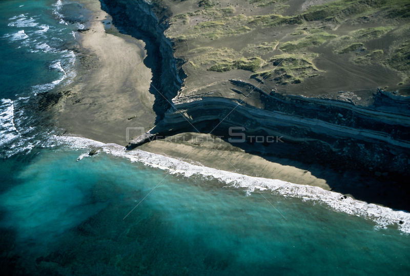 Aerial view of coastline, Peninsula Valdez, Argentina, South America 2000