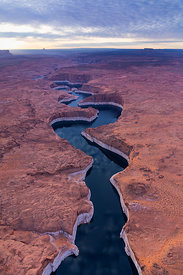 Aerial landscape of the Colorado River near Lake Powell, Page, Arizona, USA, February 2015.