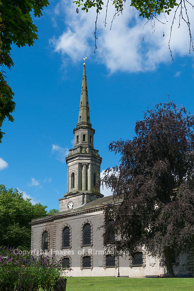 The Jewellery Quarter of Birmingham, England. St Pauls Church, St Pauls Square.