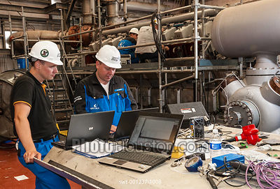 Technicians working at a natural gas storage facility