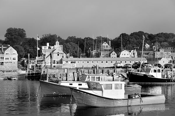 FISHING BOATS HARBOR ROCKPORT MA CAPE ANN MASSACHUSETTS BLACK AND WHITE