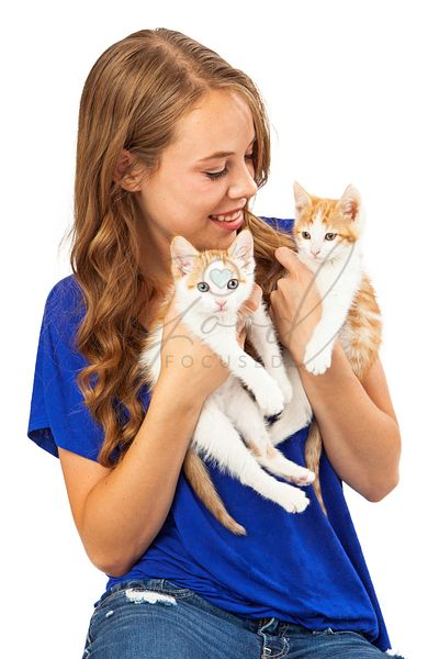 Young Adult Holding Two Kittens
